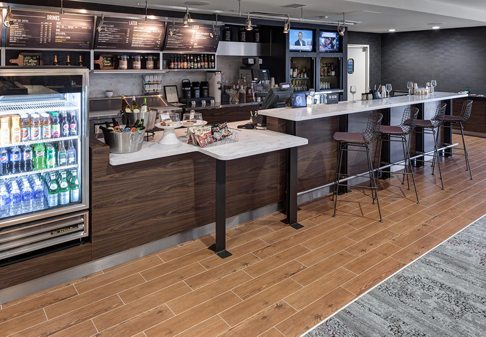Bistro lounge with service counter